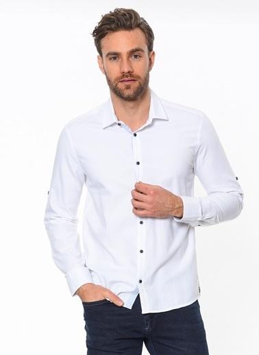Cazador Slim Fit Uzun Kollu Gömlek Beyaz